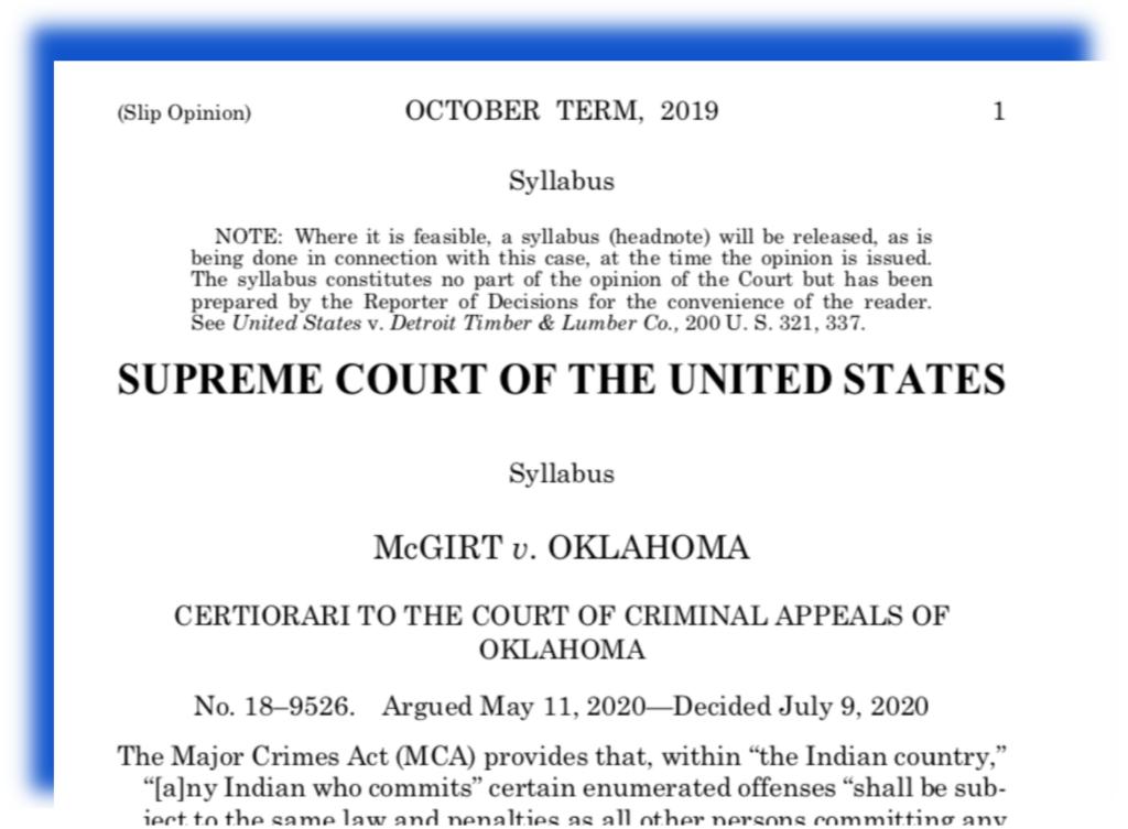 SCOTUS Ruling on McGirt V. Oklahoma document